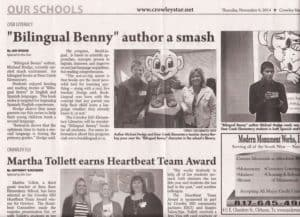 Newspaper Article about Author Visit to Crowley, Texas (Nov. 2014)